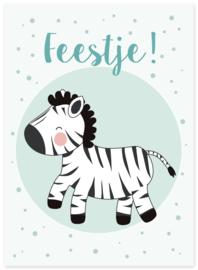 Uitnodiging kinderfeestje zebra