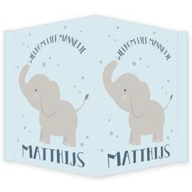 Geboortebord - Geboortebord raam met  olifantje type Matthijs