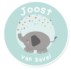 Naamstickers rond lief olifantje