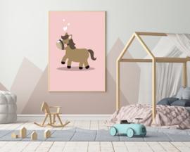 Poster met een leuk paard - poster babykamer of kinderkamer