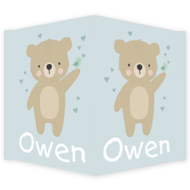Geboortebord - Geboortebord raam  met een lieve beer type Owen
