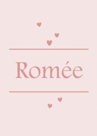 Geboortebord - Geboortebord poeder roze met leuke hartjes type Romée