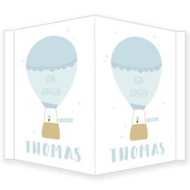 Geboortebord - Geboortebord raam met een mooie luchtballon type Thomas