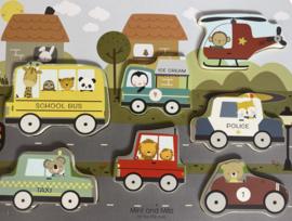 Houten voertuigen puzzel - Mint and Milo