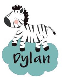 Geboortesticker met een zebra type Dylan