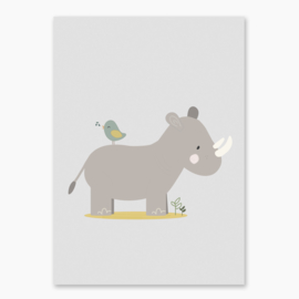 Poster met een neushoorn - poster babykamer of kinderkamer