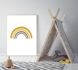 Poster een regenboog en aardetinten - poster babykamer of kinderkamer