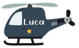 Naamstickers in vorm met een super leuke helikopter