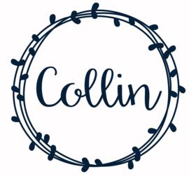 Geboortesticker jongen met cirkels en blaadjes type Collin