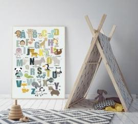 Alfabet poster kinderkamer met dieren - mint