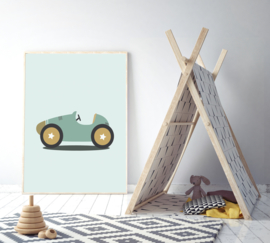 Poster met stoere raceauto - poster babykamer of kinderkamer