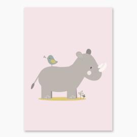 Poster met een leuke neushoorn - poster babykamer of kinderkamer