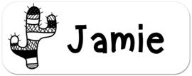 Naamstickers monochroom met cactus type Jamie