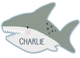 Naamstickers in vorm stoere haai