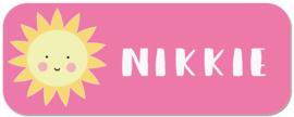Naamstickers kind met zonnetje type Nikkie