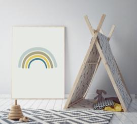 Poster met een regenboog blauw - poster babykamer of kinderkamer
