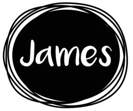Geboortesticker zwart wit ovaal type James