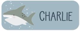 Naamstickers kind met een stoere haai