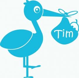 Geboortesticker ooievaar type Tim