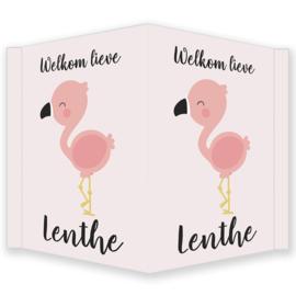 Geboortebord - Geboortebord raam met een flamingo type Lenthe