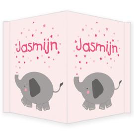 Geboortebord - Geboortebord raam met een schattig olifantje type Jasmijn