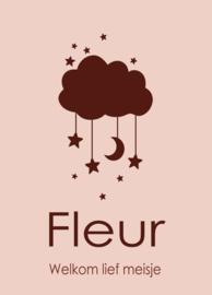 Geboortebord - Geboortebord met prachtig wolkje en sterren type Fleur