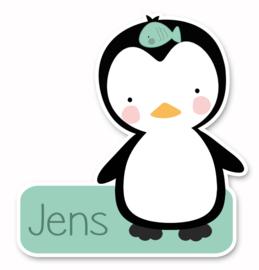 Naamstickers in vorm met een leuke pinguin