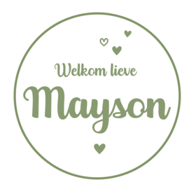 Geboortesticker full colour wit met leuke hartjes type Mayson