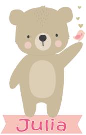 Geboortesticker met leuke beer type Julia