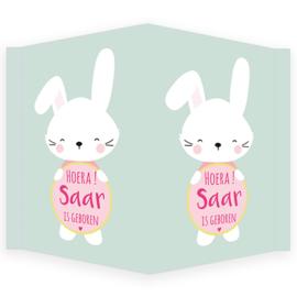 Geboortebord - Geboortebord met een schattig konijntje type Saar