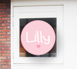 Geboortesticker full colour roze met hartje type Lilly