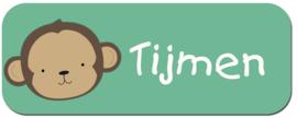 Naamstickers met een schattig aapje type Tijmen