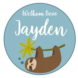 Geboortesticker jongen met luiaard type Jayden