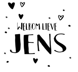 Geboortesticker met stipjes en hartjes type Jens