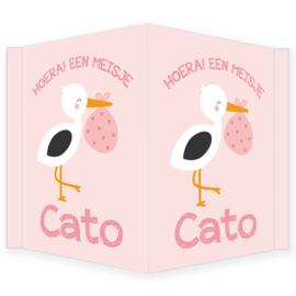 Geboortebord meisje - Geboortebord raam roze met een ooievaar type Cato