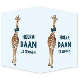 Geboortebord - Geboortebord raam met een giraf type Daan