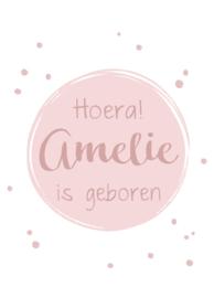 Geboortebord - Geboortebord raam met roze stipjes type Amelie