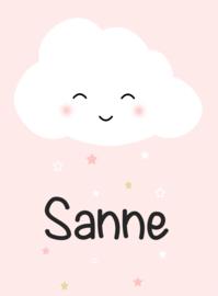 Geboortesticker lief wolkje full colour type Sanne