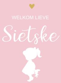 Geboortesticker full colour met meisje type Sietske