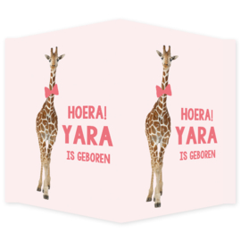 Geboortebord - Geboortebord raam met een leuke giraf type Yara