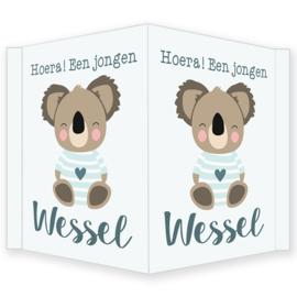 Geboortebord - Geboortebord raam met een leuke koala type Wessel