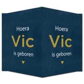 Geboortebord - Geboortebord donkerblauw met stoere betonlook type Vic