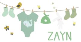 Geboortesticker full colour met waslijn type Zayn