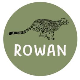 Geboortesticker full colour mooie cheeta type Rowan