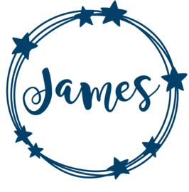 Geboortesticker cirkels met sterren type James