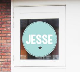 Geboortesticker stoere cirkel met ster type Jesse