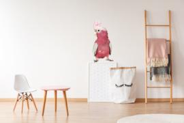 Muursticker papegaai roze- Muurstickers dieren