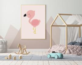Poster met een flamingo - poster babykamer of kinderkamer