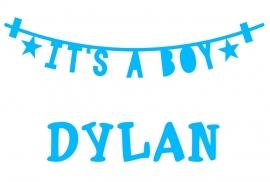 Geboortesticker it's a boy type Dylan