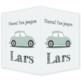 Geboortebord - Geboortebord raam met een volkswagen type Lars